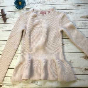 Ted Baker Anegal Pink Ribbed Peplum Sweater Size 0